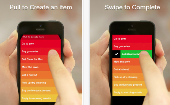 Clear's gesture-based interface makes it fun to check off your chores.