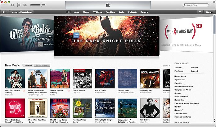 The iTunes storefront is visually different, but functionally similar.