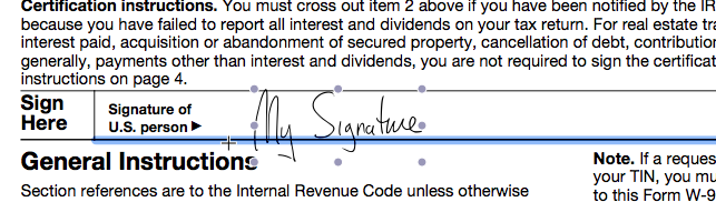 You can resize and move this to any line in the document.  Clicking off the signature and clicking again will let you sign in multiple places, if needed.